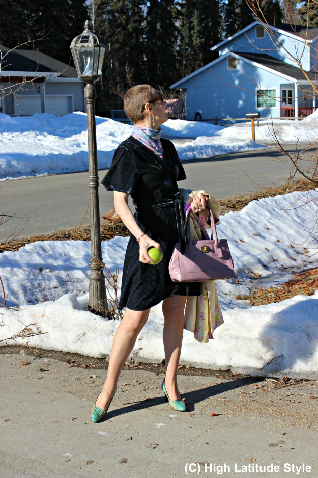 #styleover50 older woman in shortened asymmetric hemline dress