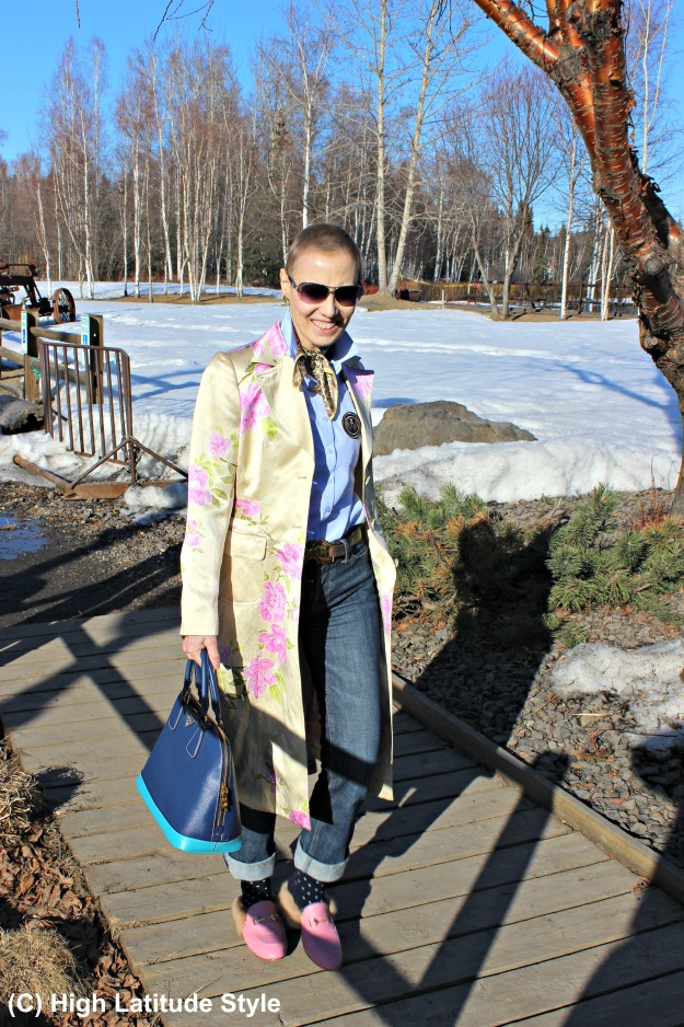 #fashionover50 mature #streetstyle woman in patched shirt and coat