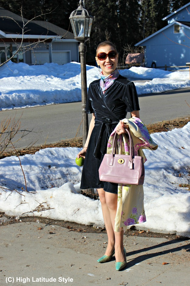 fashion blogger in wrap dress