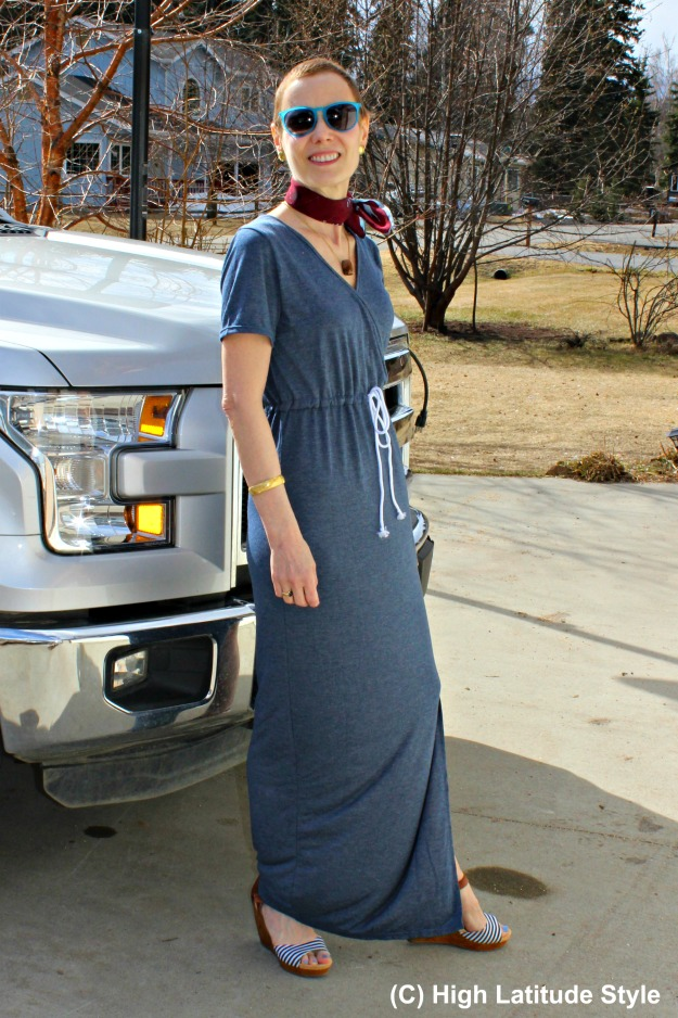 #styleover40 woman in casual maxi dress