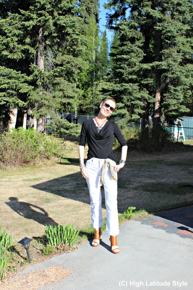 #styleover40 midlife woman looking posh in a chic black Covered Perfectly top and white pants