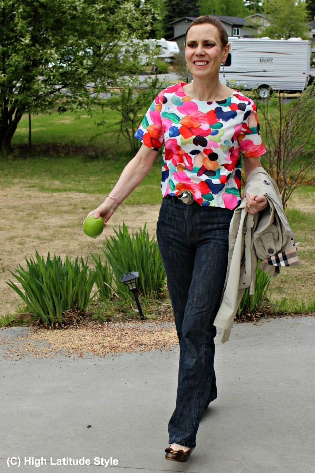 over 50 years old woman in blouse and jeans