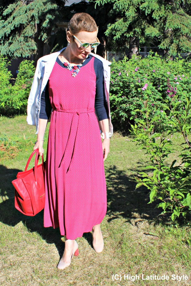#fashionover50 mature woman in an outfit with necklace in patriotic colors