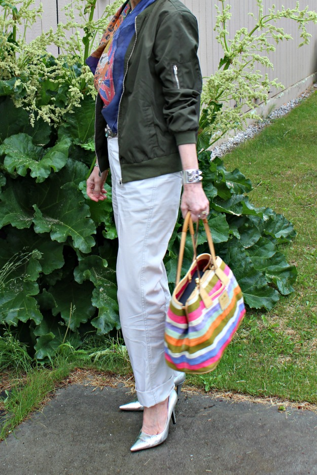 fashion over 50 casual work outfit with chinos and bomber jacket