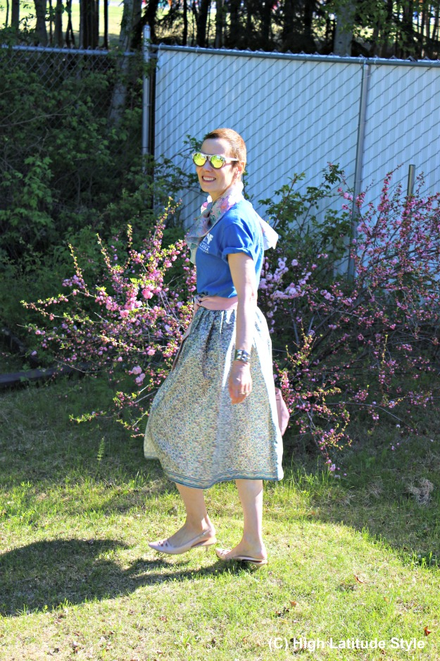 #fashionover50 work summer look with DIY full skirt