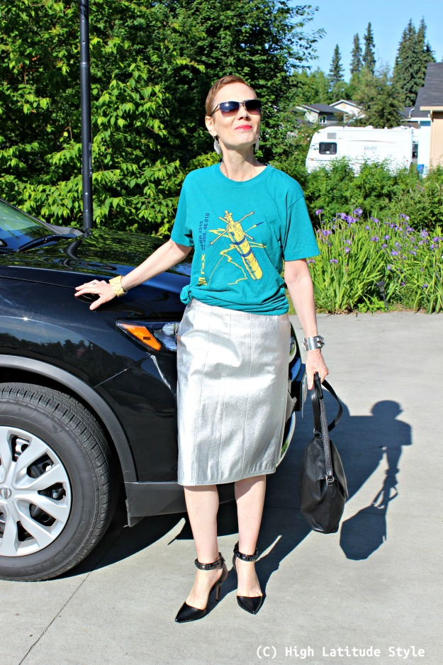 #fashionover40 midlife woman in silver leather skirt