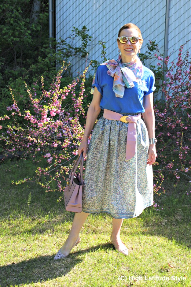 #fashionover40 outfit in pastel colors with a full skirt made from an old sari