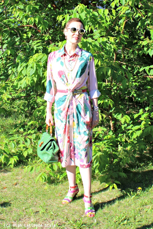 fashion blogger over 40 striped floral spring dress