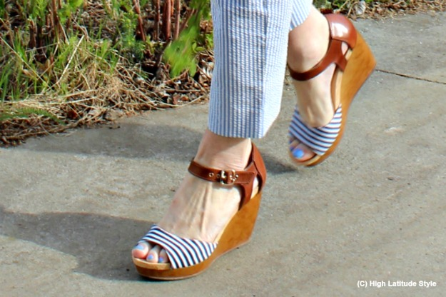 striped Dr. Scholl wedges