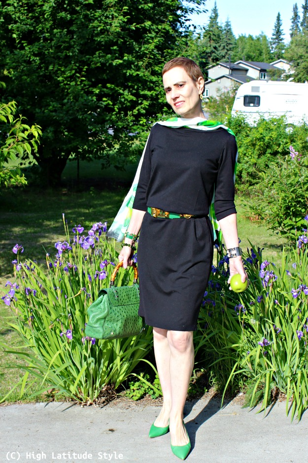 fashion blogger over 50 in LBD with shamrock scarf