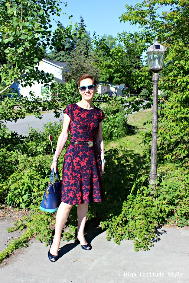 #fashionover40 Alaskan woman in summer dress
