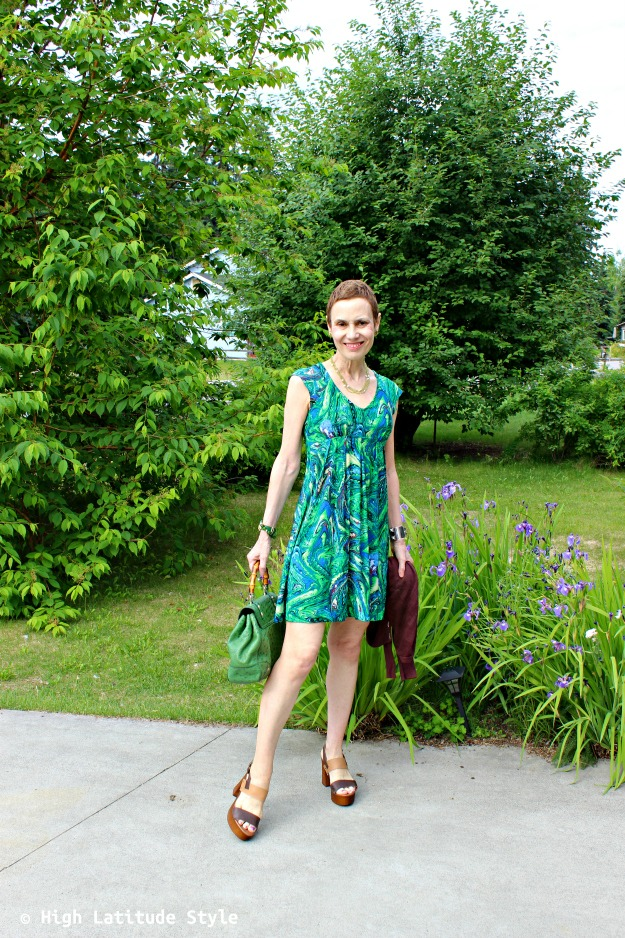 fashion over 40 woman in Picasso inspired green print dress