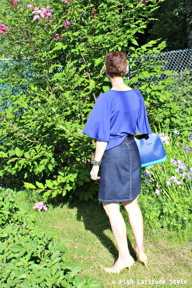 #fashionover50 mature woman in posh chic blue work outfit for July