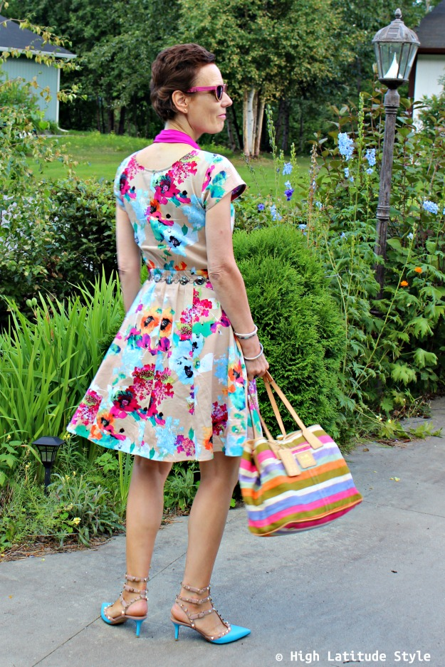 style over 40 woman in abstract floral print dress