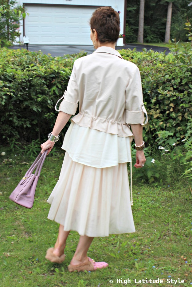 mature style blogger in monochromatic outfit