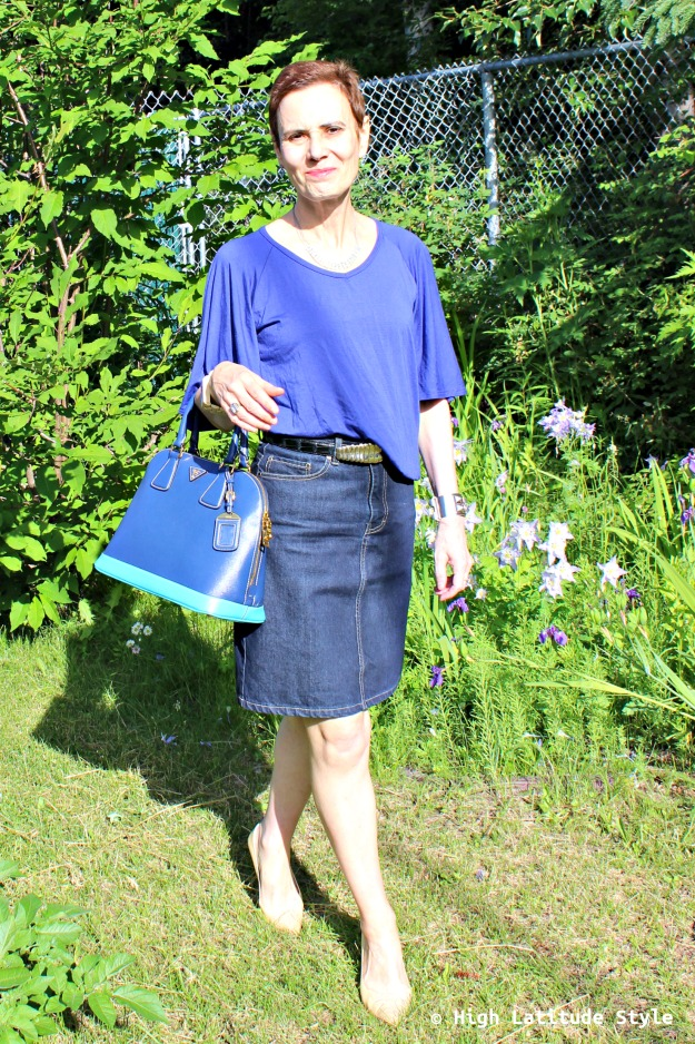 fashion over 50 woman in blue work outfit