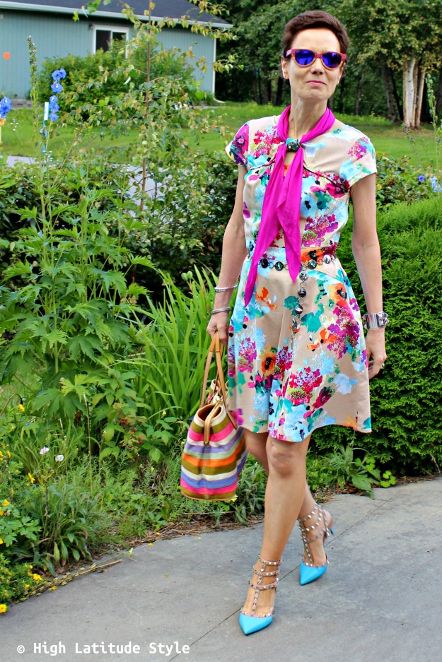 #fashionover50 older woman in colorful look