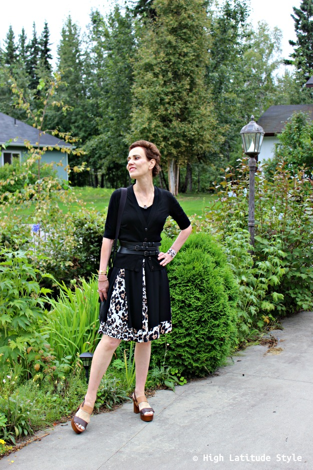#fashionover40 mature style blogger in fall work outfit with cardigan and wrap dress
