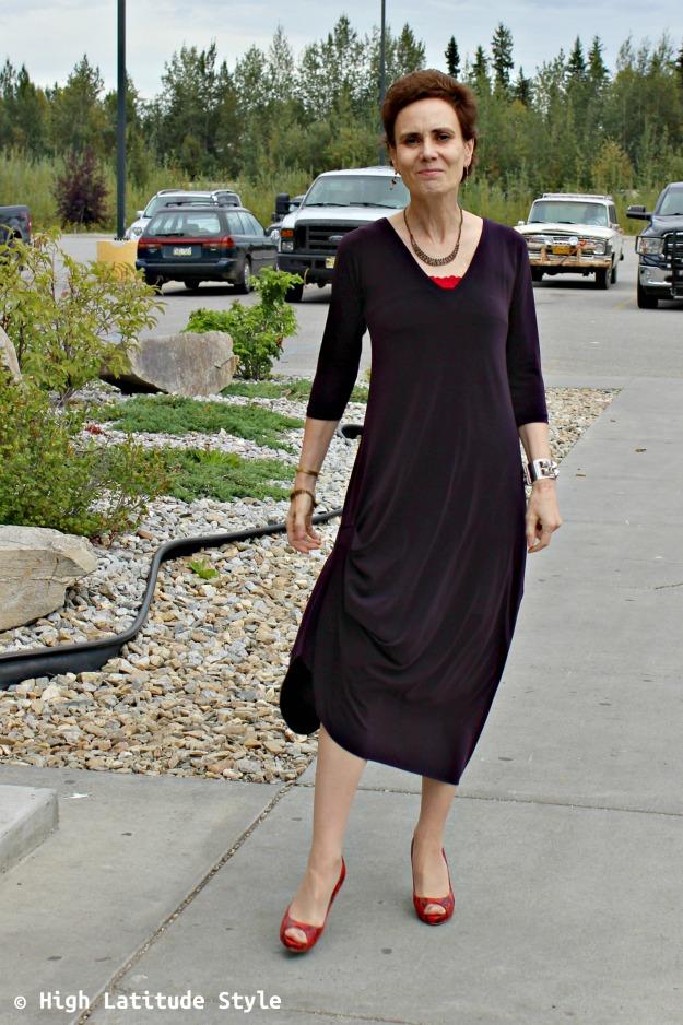 #fashionover40 woman looking posh in a Sympli drama dress