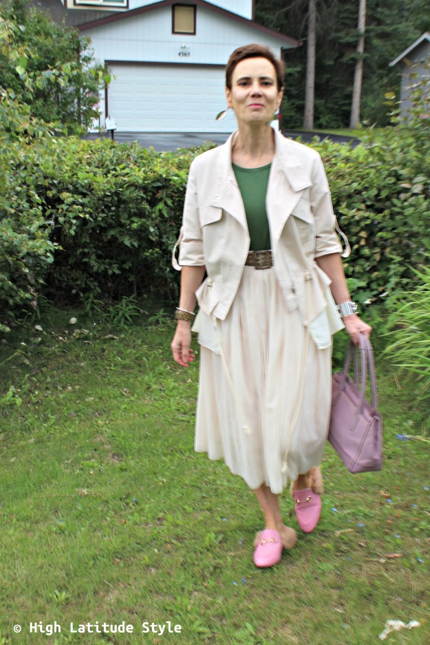 Alaskan mature street style blogger in skirt and utility jacket