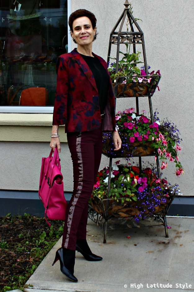 #trendsover40 woman in sequin striped jeans
