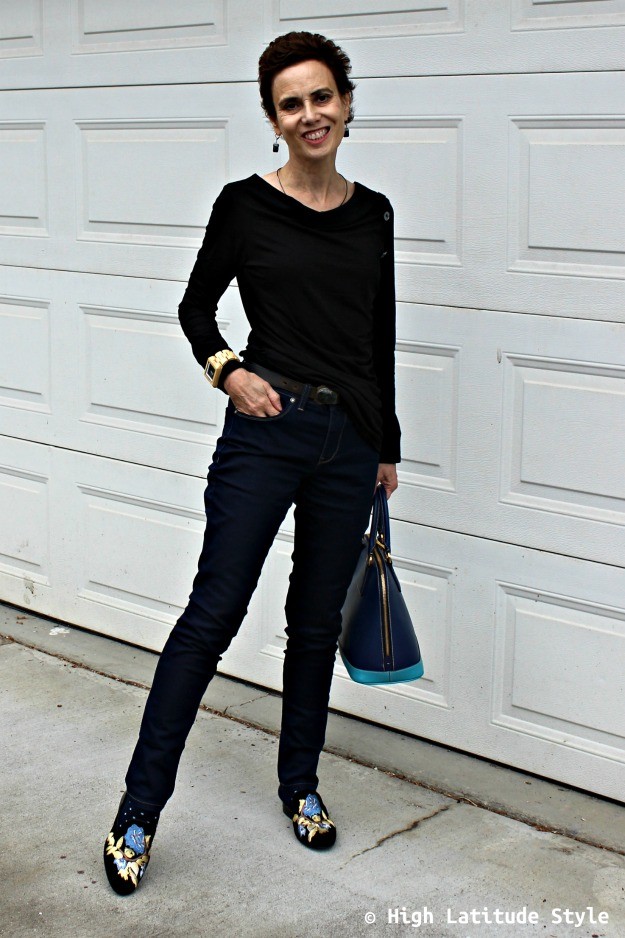 fashion blogger in Casual Friday look with cuffed BF, drape top, and mules