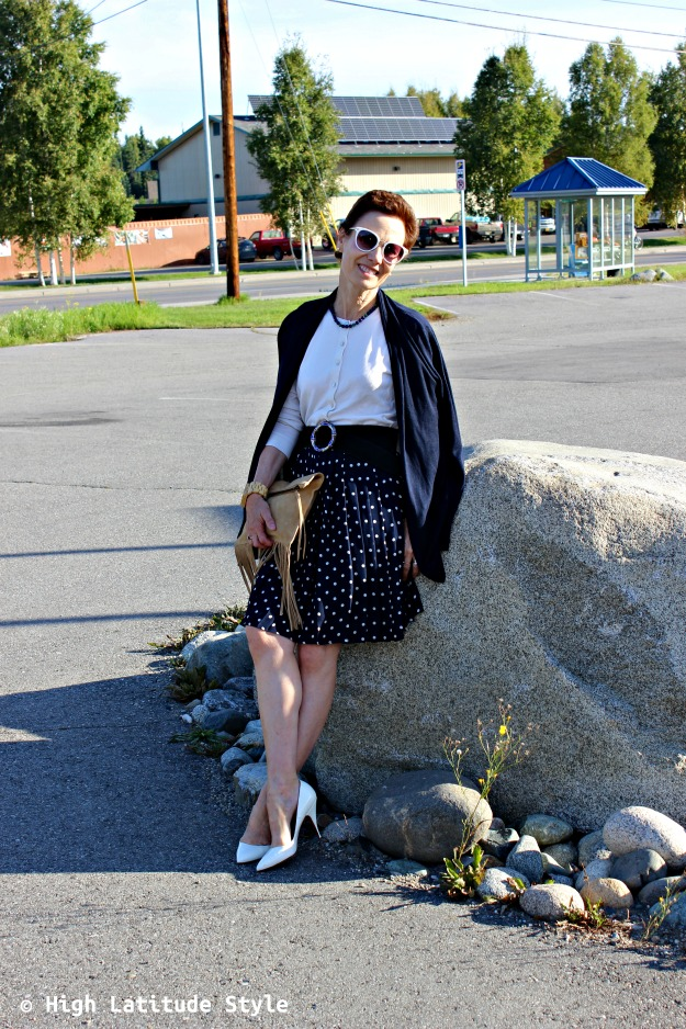 stylist in blue white fall work outfit with pieces from summer