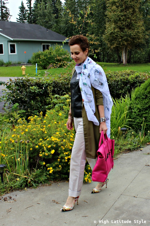 mature fashion blogger in chinos with floral shoes