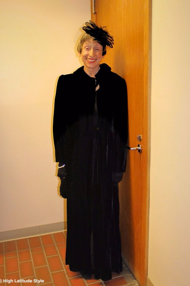 #fashionofthe40s 80 year old model in long velvet coat with hat all from the 50s