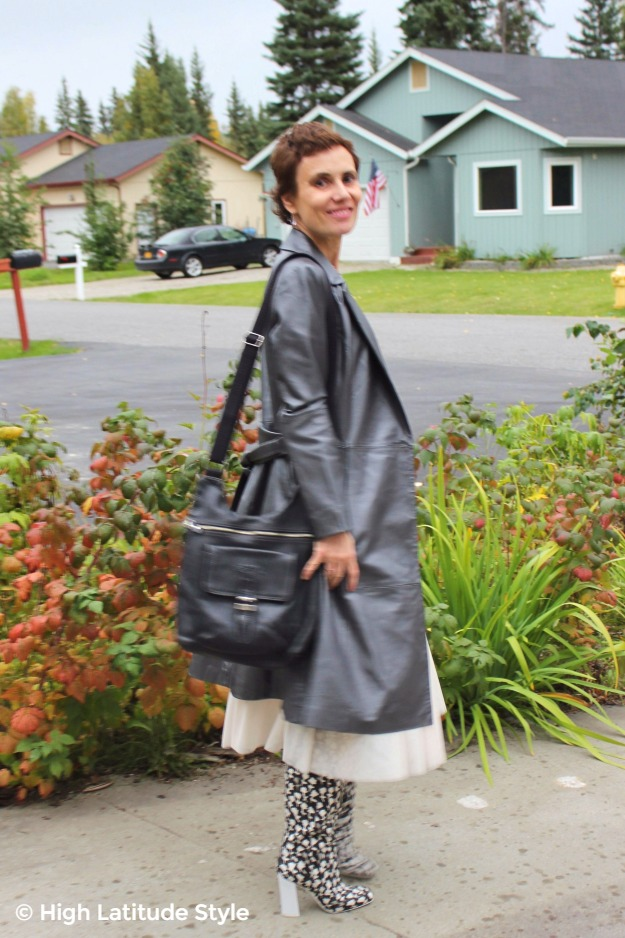 #styleover40 woman in silver leather trench coat