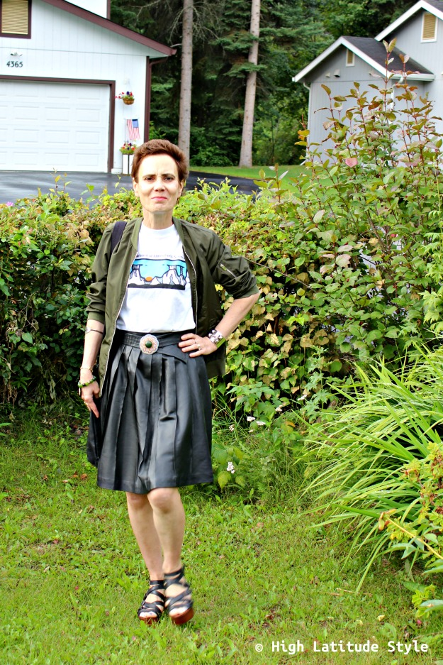 woman over 40 in street style look