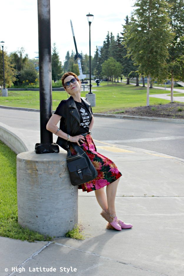 #Fashionover50 woman wearing a summer skirt styled for fall