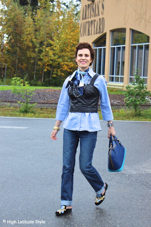 50 plus woman in chic fall look