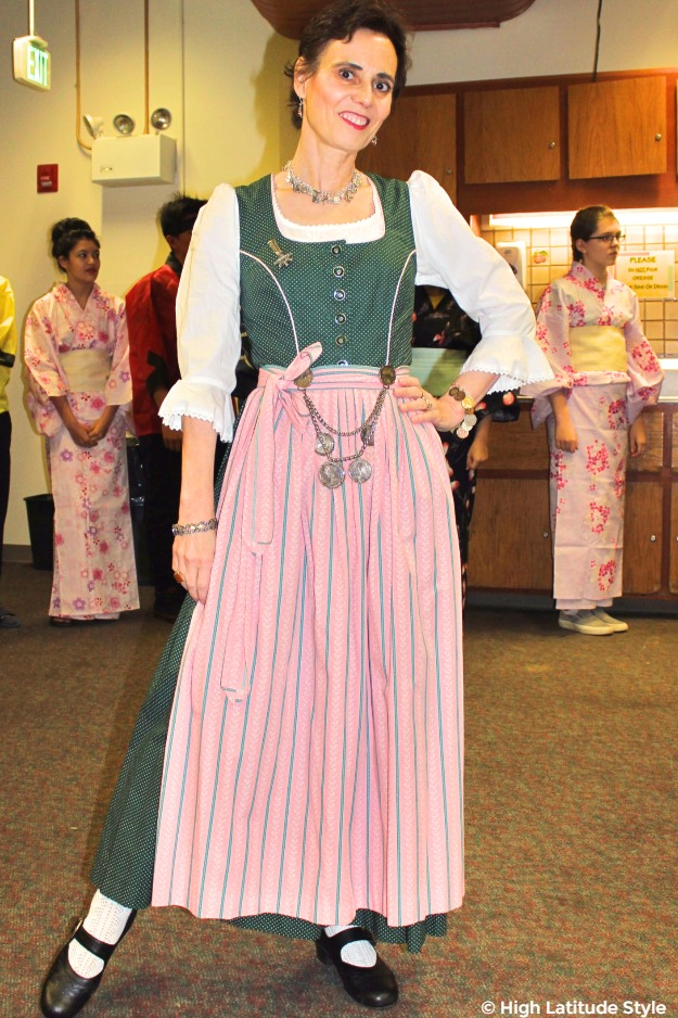 midlife in spruce colored dirndl