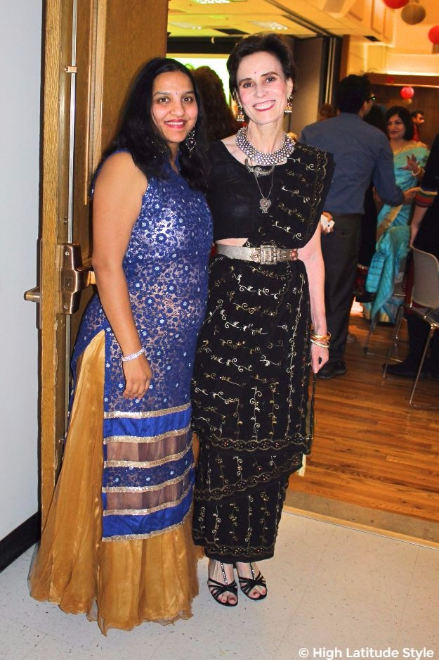 midlife fashion blogger in festive outfits at Diwali