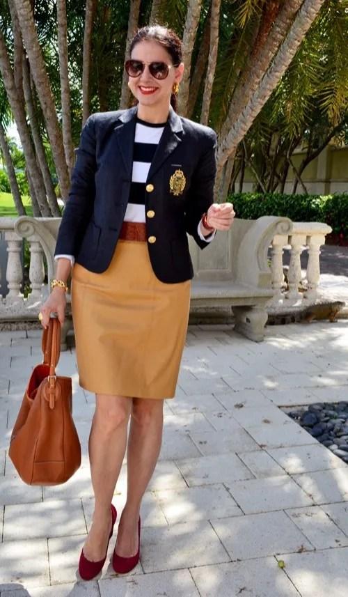 #midlifestyle mature work outfit with straight nappa skirt