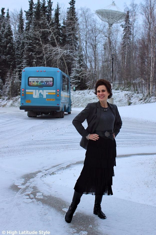 #styleover50 fashion blogger in posh gray black winter work outfit with warm footwear