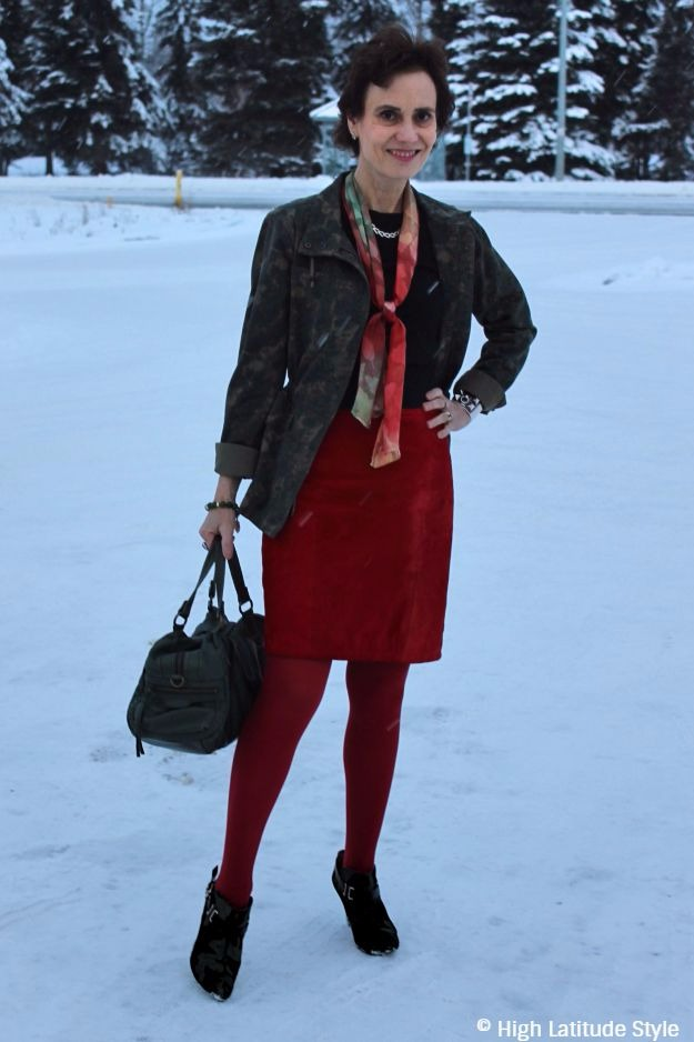Alaskan fashion blogger in red and olive work outfit