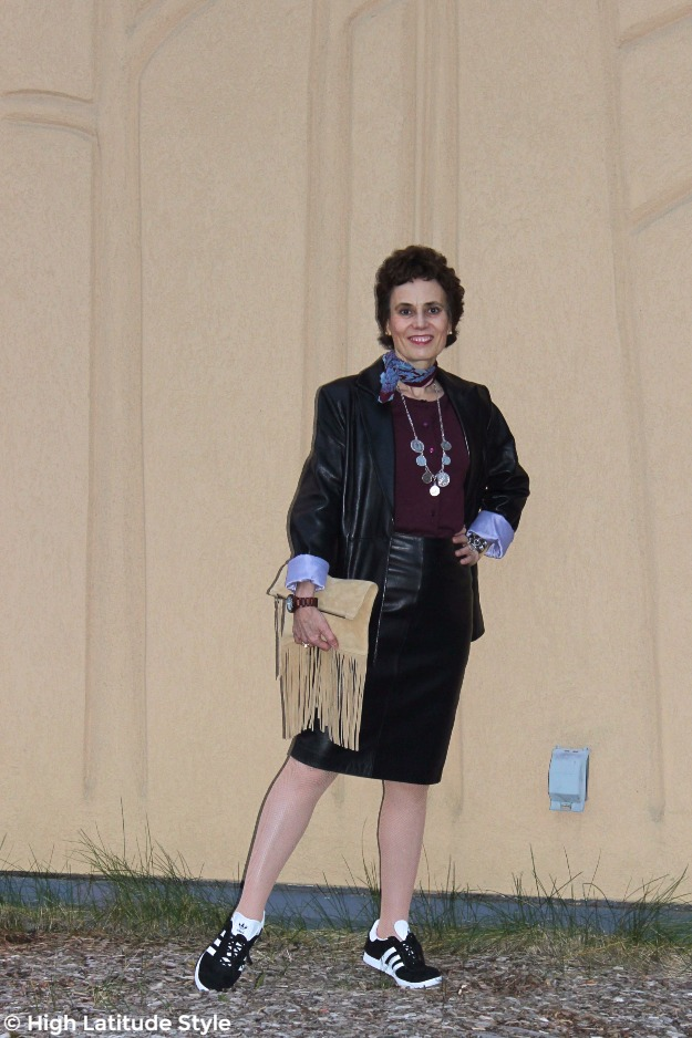 #midlifestyle woman looking chic in leather skirt and blazer