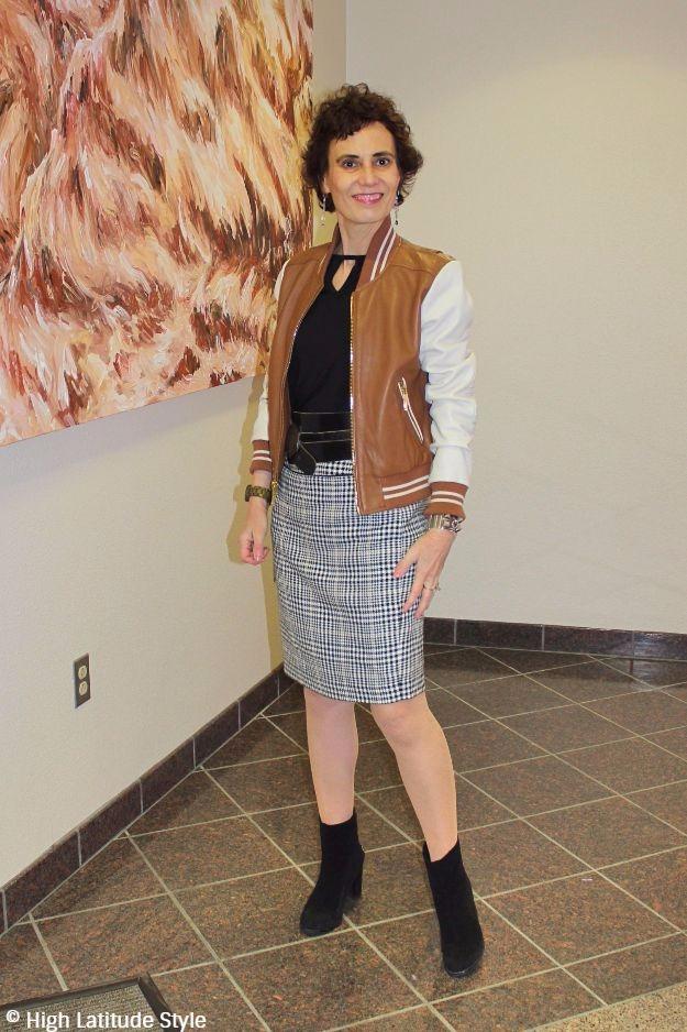 #maturefashion woman in Casual Friday attire