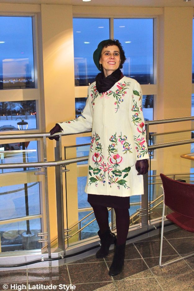 #fashionover50 mature lady in embroidered coat