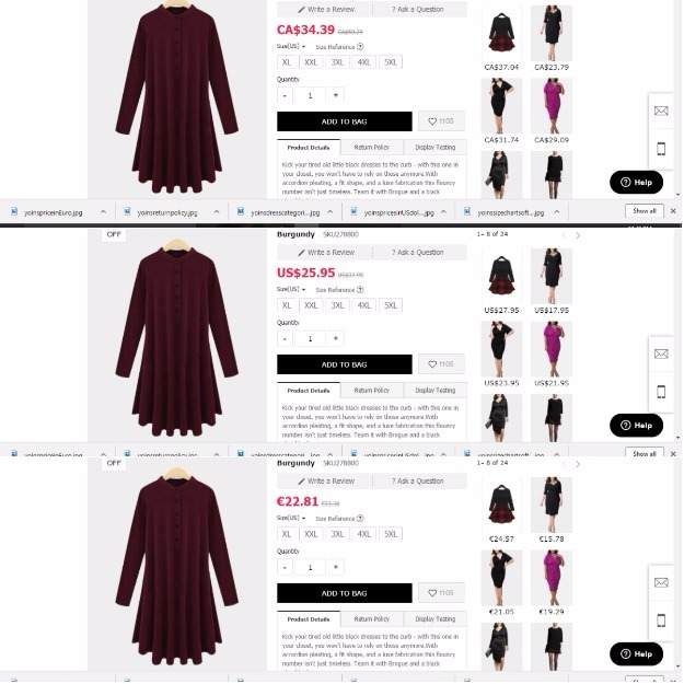Yoins prices for a plus size dress in different currencies