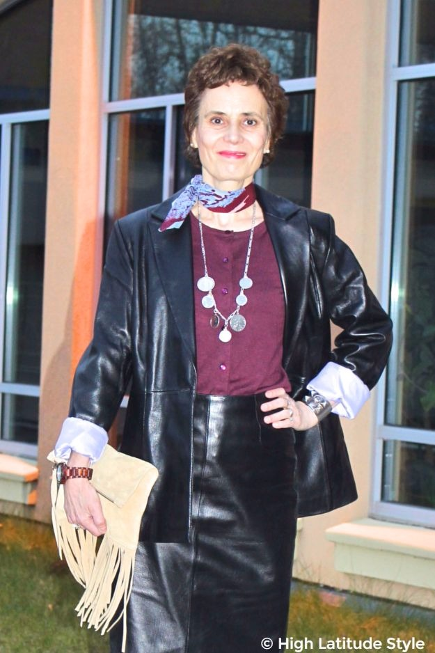 midlife lady in posh chic double-leather look