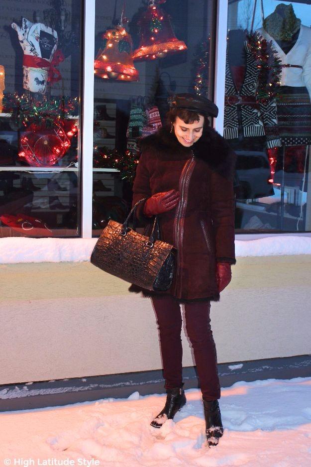 #midlifestyle #midlifefashion woman in winter outerwear