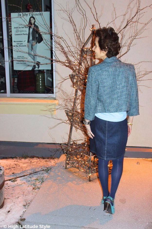 #styleover40 #midlifefashion woman in chic Casual Friday look in denim and tweed