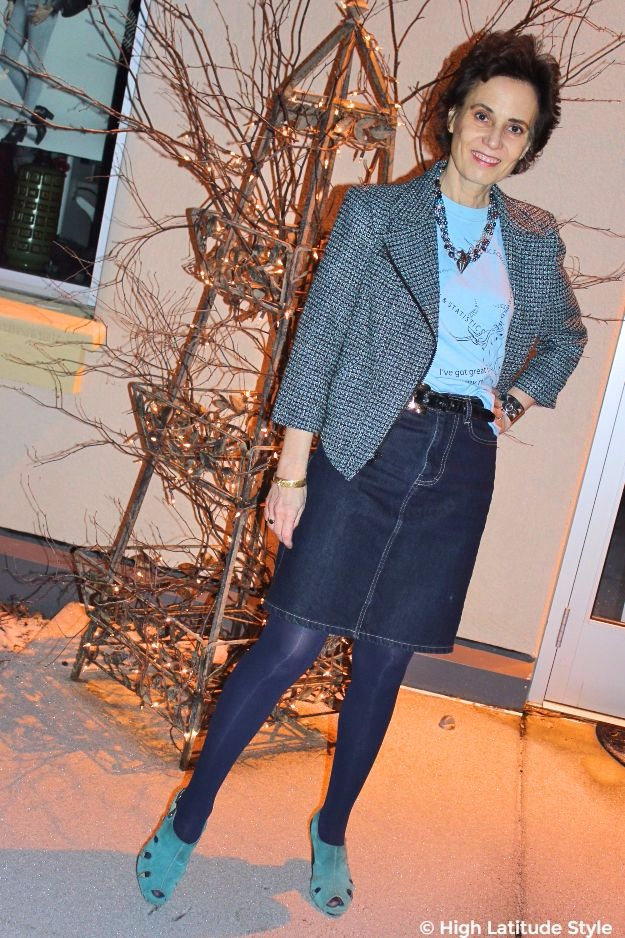 midlife style blogger in posh casual work outfit with tweed motorcycle jacket and dark denim skirt