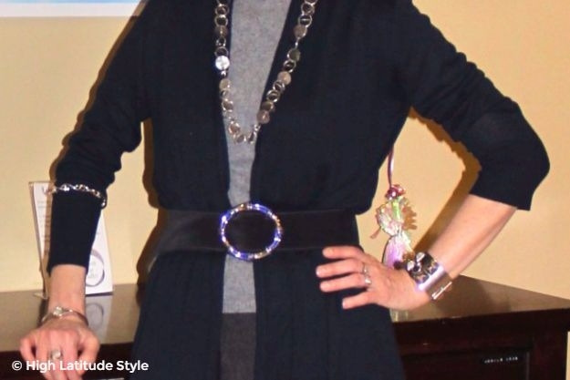 #midlife #accessories detains of belt buckle, necklace, and bangles
