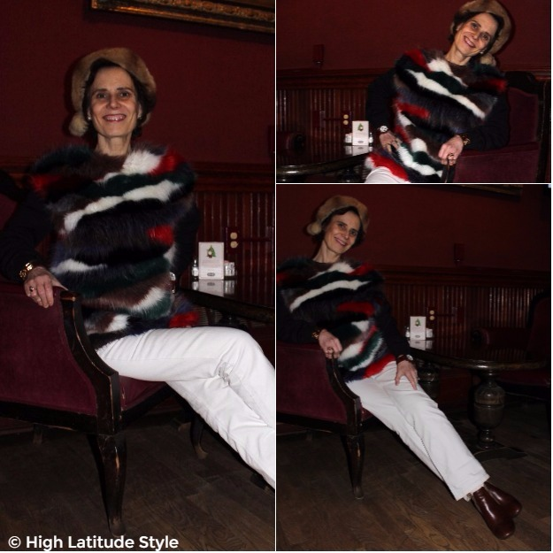 #fotorcollage midlife woman in faux fur sweater with white jeans #Fashionover50
