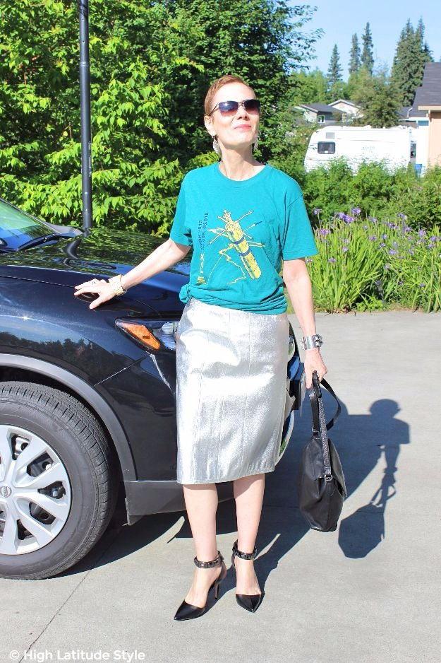 #styleover50 #midlifestyle woman in posh going out look