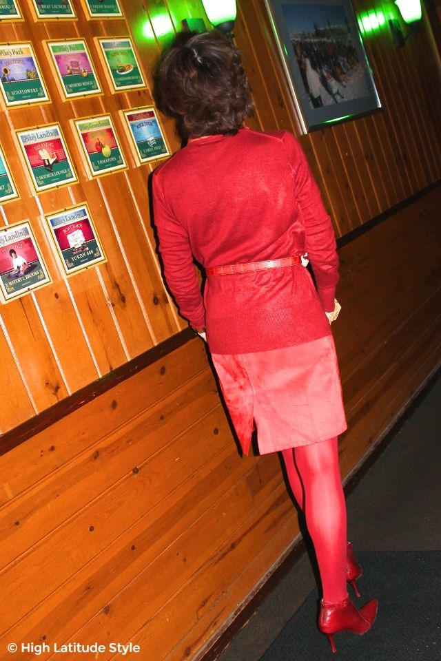 #fashionover50 mature woman in monochromatic red Valentine's Day outfit